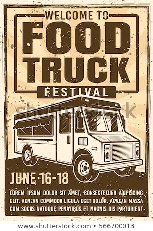 color vintage food truck poster stock photo © netkov1
