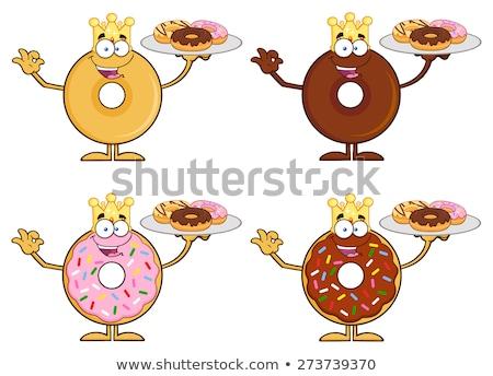 king donut cartoon character serving donuts stock photo © hittoon