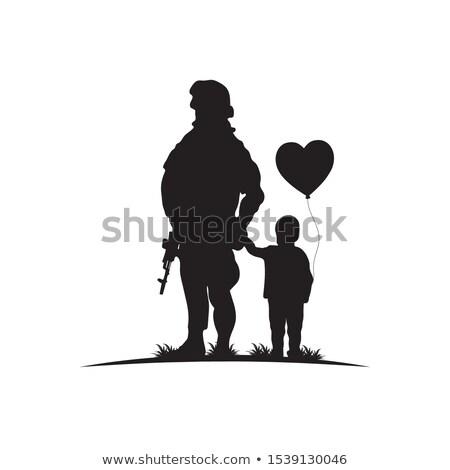 soldato · silhouette · movimento · gun · nero · isolato - foto d'archivio © romvo