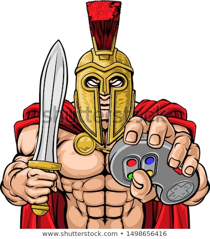 Trojan Spartan Gamer Warrior Controller Mascot  Stock photo © Krisdog