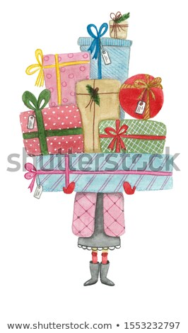 woman in green winter coat with packages in hands stock photo © robuart
