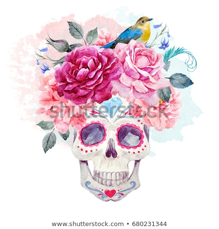 Day of the dead card colorful watercolor skull art Stock photo © cienpies