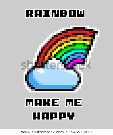 Slogan Rainbow Make Me Happy Pixel Art Illustration Foto stock © Tashatuvango