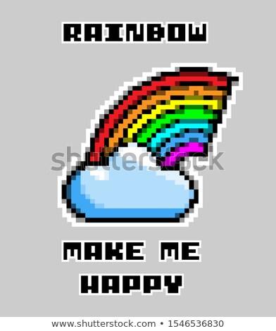 Slogan gökkuşağı bana mutlu piksel Stok fotoğraf © tashatuvango