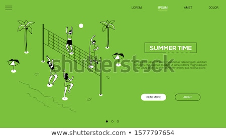 Summer time - line design style isometric web banner Stock photo © Decorwithme