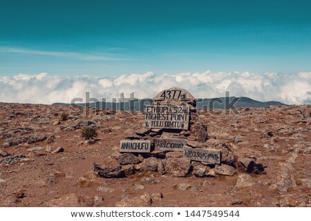 The highest peak signpost of Bale Mountain Stock photo © artush