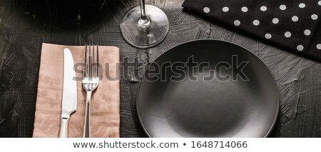 Empty tableware with beige napkin, food styling plating props, d Stock photo © Anneleven