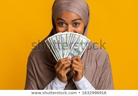 Afro-amerikaanse vrouw verbergen gezicht achter geld Stockfoto © dolgachov