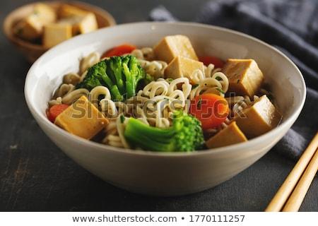Vegetáriánus ázsiai zöldség saláta felszolgált tál Stock fotó © Anneleven
