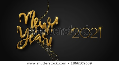 Happy New Year melted gold 3d drip type quote Stock photo © cienpies