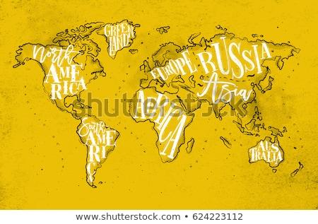 Harita güney amerika poster siyah beyaz baskı güney Stok fotoğraf © FoxysGraphic