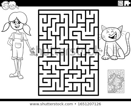 maze with girl and kitten coloring book page Stock photo © izakowski