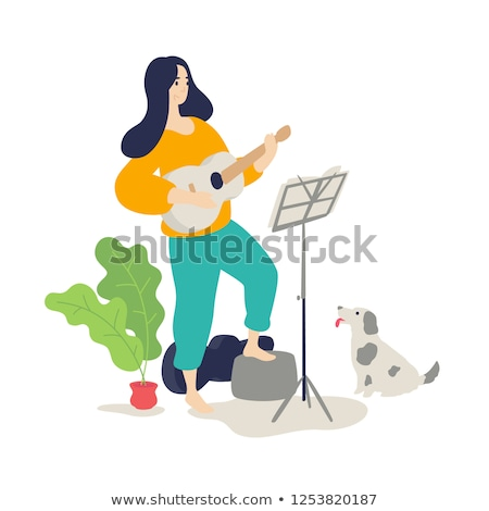 Woman Playing Guitar Guitarist Player at Home Stock photo © robuart