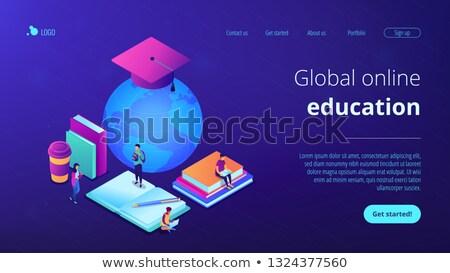 Global on-line educação aterrissagem página distância Foto stock © RAStudio