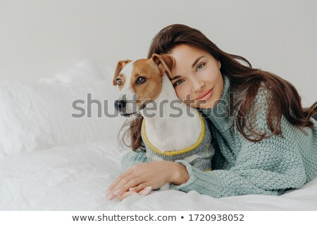 Image of lovely brunette lady leans at pedigree jack russel terrier, embraces pet with love, spend t Stock photo © vkstudio