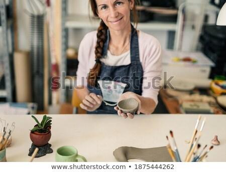 Cserépedények hobbi nő agyag készít vektor Stock fotó © robuart