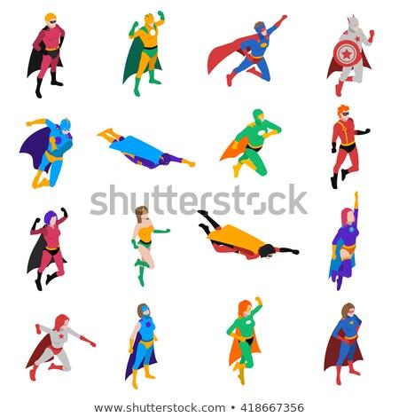 Süper kahraman maske izometrik ikon vektör imzalamak Stok fotoğraf © pikepicture