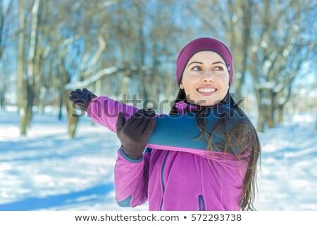 Fiatal szépség lány fa tél nyújtott Stock fotó © Paha_L