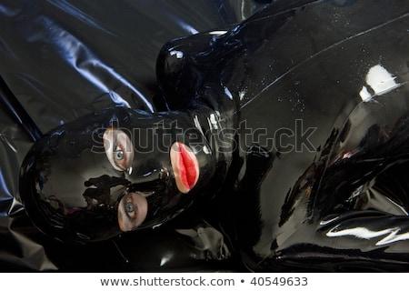 Stockfoto: Vrouw · latex · kleding · zwarte · alleen