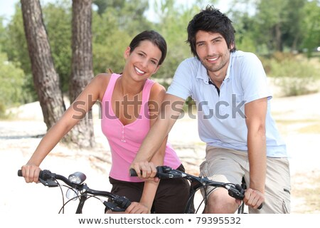 Casal ciclismo pinho floresta saúde Foto stock © photography33