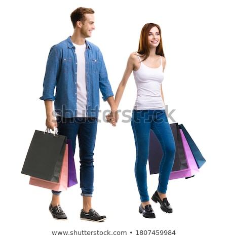 couple · centre-ville · Shopping · coloré · verre - photo stock © photography33