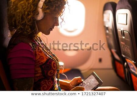 portre · genç · kadın · yatılı · uçak · köprü · gökyüzü - stok fotoğraf © lightpoet