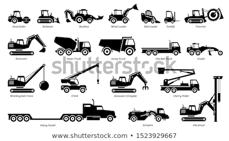 Ilustração escavadeira motorista construção trabalhar laranja Foto stock © perysty