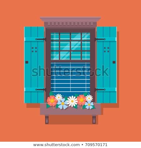 quarto · borboleta · fora · janela · artístico · vermelho - foto stock © Sylverarts