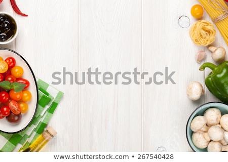 Gombák paradicsom fokhagyma spagetti hozzávalók tészta Stock fotó © elly_l