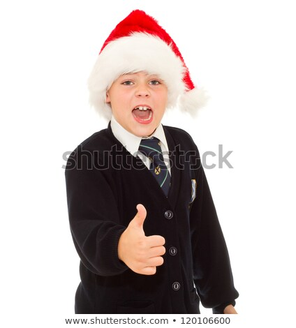 screaming school boy gesturing thumb up hand sign ok isolated o stock photo © annakazimir
