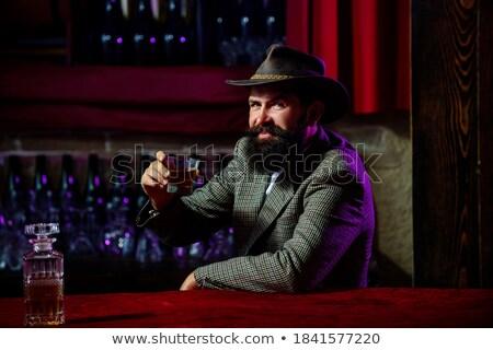 sarhoş · adam · teklif · şişe · viski · beyaz - stok fotoğraf © acidgrey