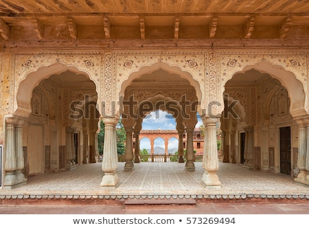 ornament on wall of palace in Jaipur fort Stock photo © Mikko