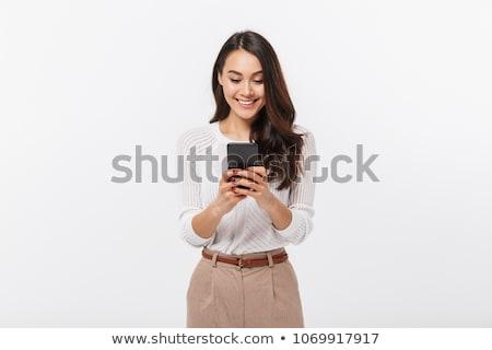 feliz · jovem · senhora · exibir · telefone · móvel - foto stock © dacasdo