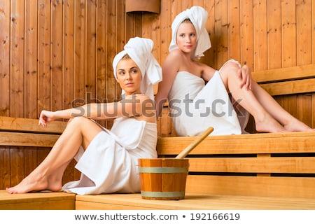 Sauna bien-être Homme amis spa jeunes Photo stock © Kzenon