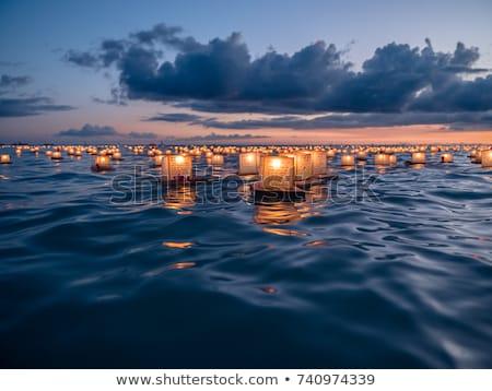 Foto stock: Velas · água · dois · iluminação · azul