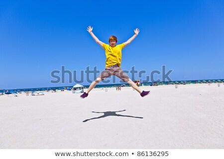 Okos fiú tengerpart dél Miami nap Stock fotó © meinzahn
