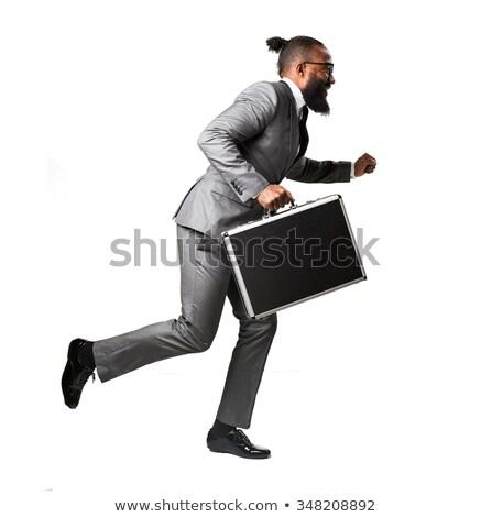 empresário · trancado · pasta · africano · americano · terno - foto stock © dgilder