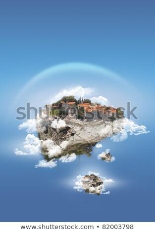 Foto stock: Verde · solitário · árvore · voador · ilha · dois