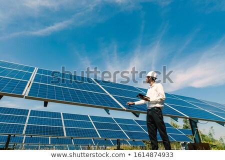 Photovoltaïque 3D généré photos deux électricité Photo stock © flipfine