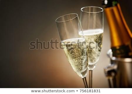 два · очки · вино · бутылку · вина · древесины - Сток-фото © oleksandro