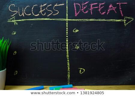 éxito derrotar escrito pizarra mano flecha Foto stock © Zerbor