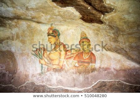 famoso · antigo · parede · pinturas · Sri · Lanka · nu - foto stock © mikko