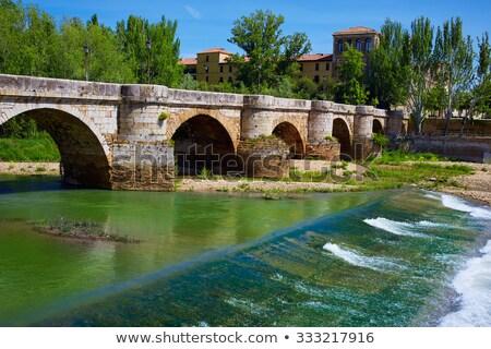 bernesga river bridge in leon way of saint james stock photo © lunamarina
