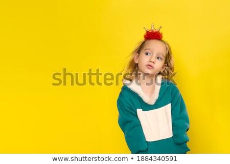 Joli juste fille jaune robe isolé Photo stock © Elnur