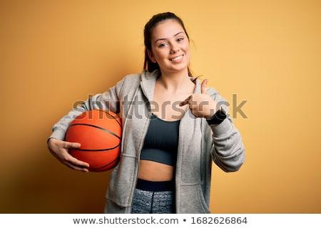 Сток-фото: счастливым · женщину · баскетбол · мяча