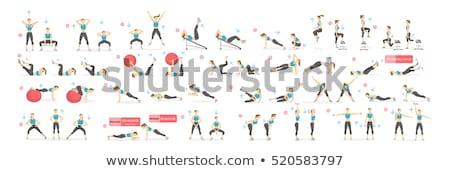 Gymnastics set with athletes and equipments Stock photo © bluering