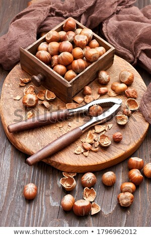 Mogyoró diótörő közelkép fa asztal fa gyümölcs Stock fotó © andreasberheide