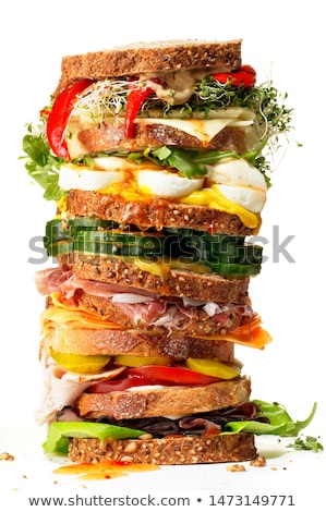 Imagem sanduíches presunto pepino grelhado Foto stock © artjazz