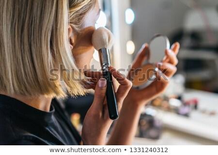 Atrakcyjna kobieta makijaż twarz odizolowany biały dziewczyna Zdjęcia stock © deandrobot