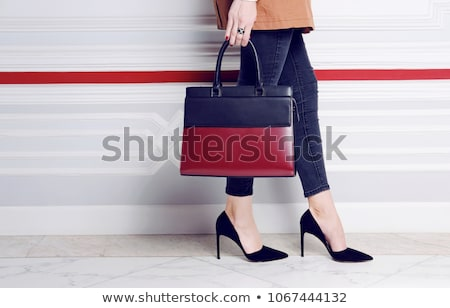 Red Shoes and leather handbag. Women clothes and accessories. Fa Stock photo © Victoria_Andreas